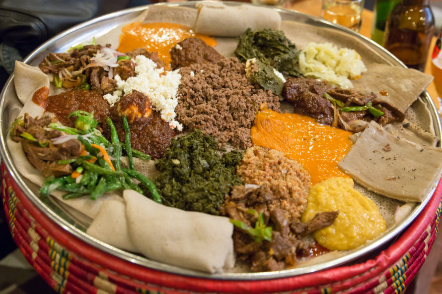 Traditional Ethiopian Food, Several types of stew and meat served on Injera